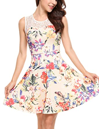 ANGVNS Womens Casual Flare Floral Contrast Sleeveless Party Mini Dress(Pattern ...