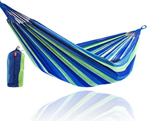 CJ Ultra Double Brazilian Hammock - XL Wide Two Person Soft Woven Cotton Fabric - Long Hamaca Swing Bed for Backyard Patio or Porch - Outdoor or Indoor - Includes 2 Hanging Tree Ropes (Blue Striped)