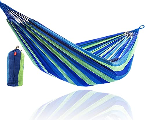 CJ Ultra Double Brazilian Hammock – XL Wide Two Person Soft Woven Cotton Fabric – Long Hamaca Swing Bed for Backyard Patio or Porch – Outdoor or Indoor – Includes 2 Hanging Tree Ropes Blue Striped