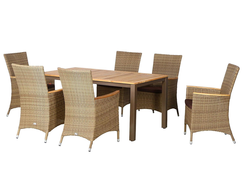 13-teilige Luxus Aluminium Teak Polyrattan Geflecht Gartenmöbelgruppe Anaheim , 6 Diningsessel, 6 Auflage und ein Teaktisch Geneva 160x90, braun - sand