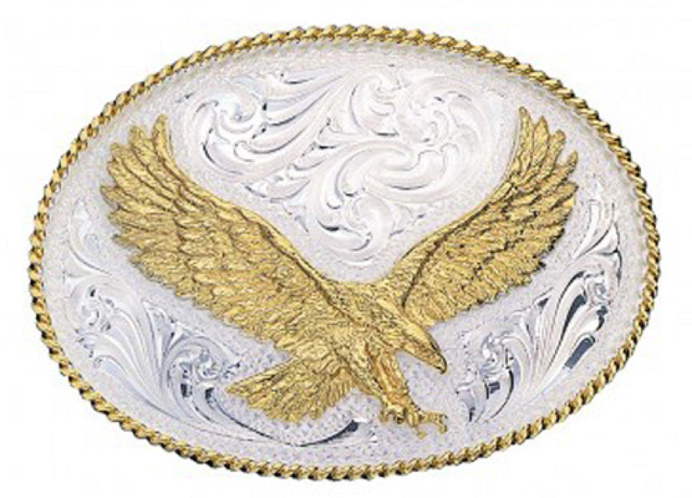 Montana Silversmiths Men's Silver Engraved Small Eagle Western Attitude Belt Multi One Size
