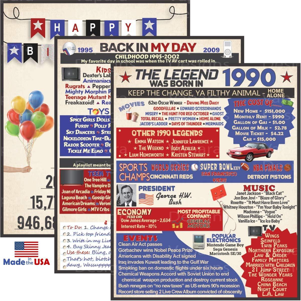 VAPARA DESIGNS 30th Birthday Decorations - 3 Pack of Fun, Artistic 8x10 Birthday Signs - 30th Birthday Gifts for Women and Men - 1990 Birthday Gifts
