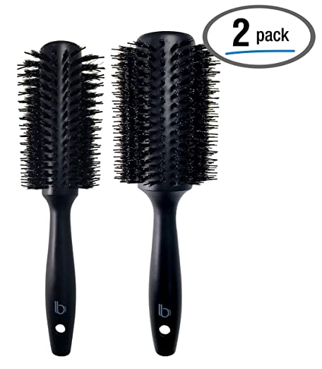 2 Pack Styling Double Bristle Wooden Round Brushes by Better Beauty Products, 1.3 inch/33mm and 1.7 inch/44mm, Styling Hairbrush with Natural Soft Boar and Nylon Bristles, Black Wood Finish, Set of 2