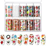 10 Sheets Nail Decals Art Nail Foil Transfer Stickers, Decals for Nail Art, DIY Decoration for Women and Kids, 10 Colors (Christmas Patterns)