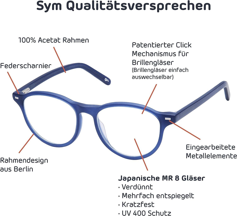 4,00 mit auswechselbaren Gl/äsern in 6 Farben f/ür Kurzsichtigkeit und Weitsichtigkeit 4,00 bis City Kollektion Modell London Sym Runde Brille mit Sehst/ärke von Damen