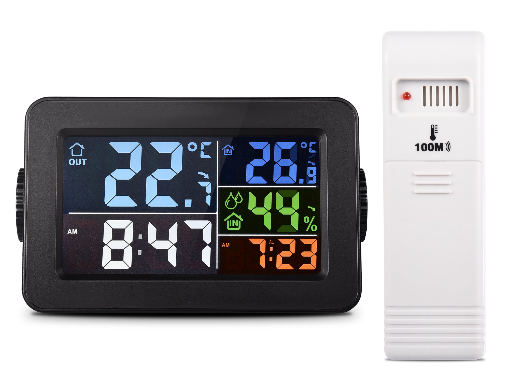 fulljion Multi-function Indoor Outdoor Thermometer Wireless with Alarm Clock, Charging Station/Phone Charger and Backlight Digital Hygrometer Humidity Meter Gauge, 300ft/100m Range(Adapter Included)