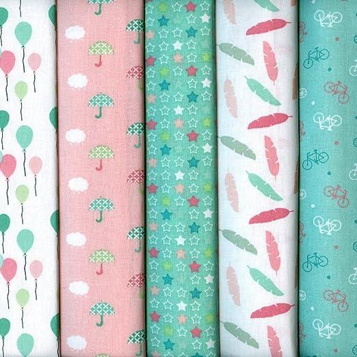 Textiles français Set de telas - 5 telas (colores pastel - rosa ...