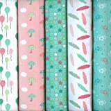 Textiles français Stoffpak Spring Party Fabrics (Pastel Pinks and Greens & White) | 5-piece Fabric Pack Bundle - 35 cm x 50 cm each | Co-ordinating French Fabric Mini Designs 100% Cotton