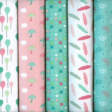 SALE 100/% Cotton Fabric 10mm Mini Stars On Colour Background 140cm wide
