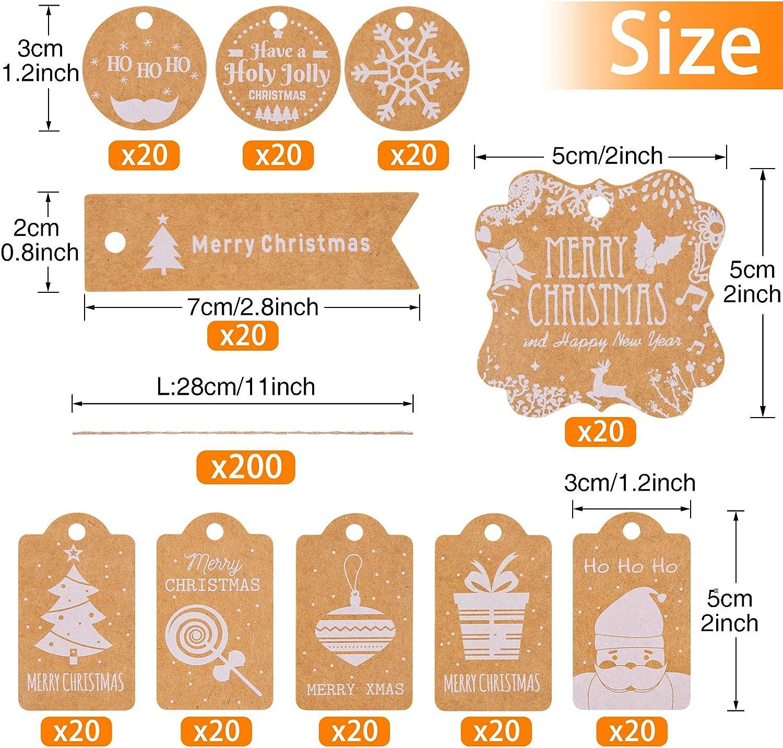 Kiiwah 200 St/ück Weihnachten Kraftpapier Etiketten Weihnachts Geschenkanh/änger Anh/änger Etiketten