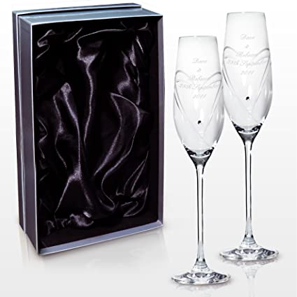 9a04adef66b Personalised Engraved Glass - Hand Cut Heart Flutes with Swarovski Elements  and Heart Design - Presented