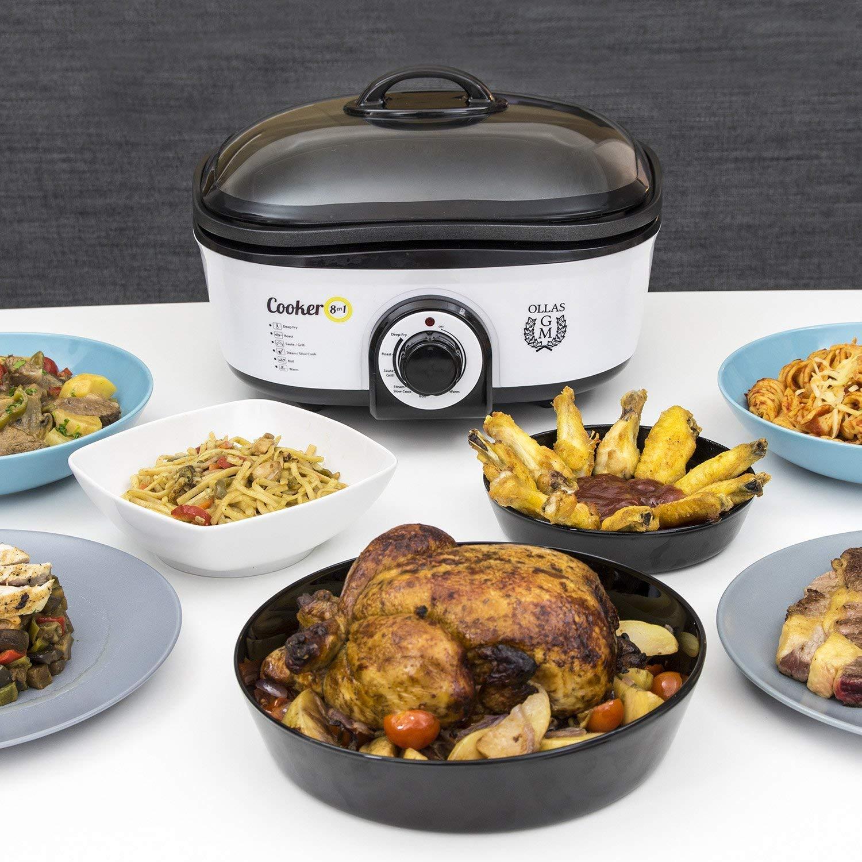 Cecotec Olla de Cocción Lenta Cooker 8 en 1. Calentar, Hervir, Cocción Lenta, Cocción al Vapor, Saltear, Plancha, Rustir, Freír, Múltiples Accesorios