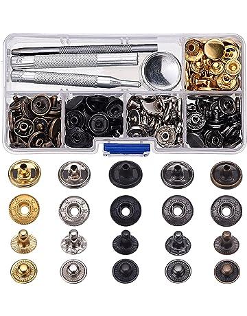 60 Set de Corchetes de Presión Botones de Presión de Cobre Botones de Ropa Cuero sin