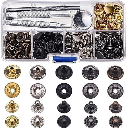100 Set 10 Mm Laiton Antique Snap Fasteners Press Stud Bouton en cuir outil de travail