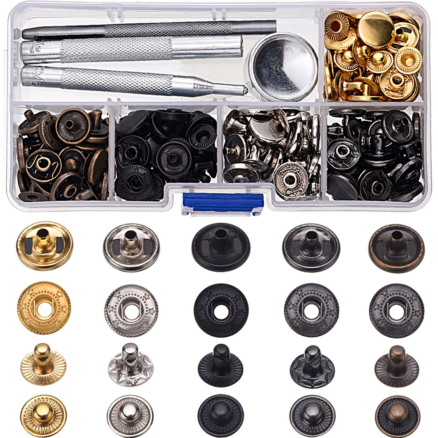 60 Set Copper Snap Fasteners Press Studs Poppers No Sewing Leather Clothing Button with 4 Pieces Install Tool (12.5 mm) Shappy