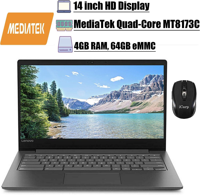 "2020 Premium Lenovo Chromebook S330 14Latest Laptop14"" HD Display MediaTek MT8173C Quad-Core Processor 4GB RAM 64GB eMMC Camera WiFi Bluetooth 4.1 Chrome OS + iCarp Wireless Mouse"