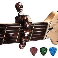 Asmuse Trigger Cejilla Guitarra Capo Acustica Española Electricas Clásica Electrica Clasica Folk Ukelele Bajo instrumento guitar Skeleton Capo Ligero Aleación de Aluminio con 3 selecciones guitarra