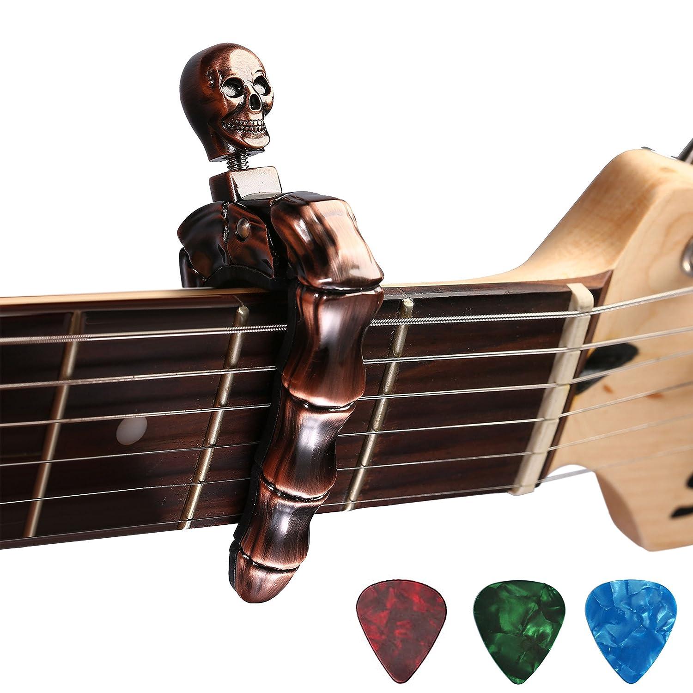 AsmuseTM Trigger Cejilla Guitarra Española Electricas Clásica Electrica Acustica Clasica Folk Ukelele Bajo instrumento guitar Skeleton Capo Ligero Aleación ...