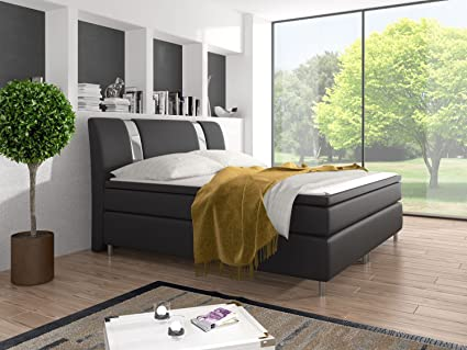 Cama con somier cama doble Cama de Matrimonio tapizada cama King Size Ventura Negro 140 x 200 cm