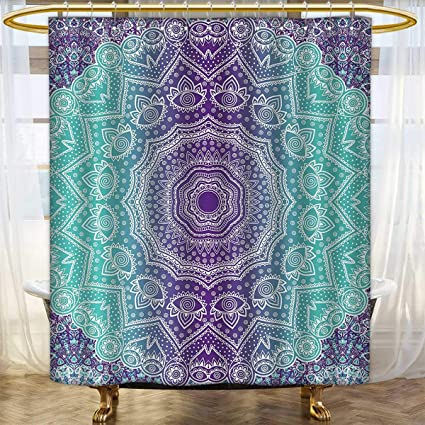 Purple And Turquoise Shower Curtains Digital Printing Hippie Ombre Mandala Inner Peace Meditation With Ornamental