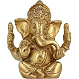 """Elite God of Luck Seated Lord Ganesh/Ganpati a 4"""" Religious Gifts Brass Metal Statue/Idol/Idol/Murti Art Home Decor for Puja Size - (HxWxD) - (4 x 3.5 x 1.7) inches and Weight - 730 Gms by Crafthut"""