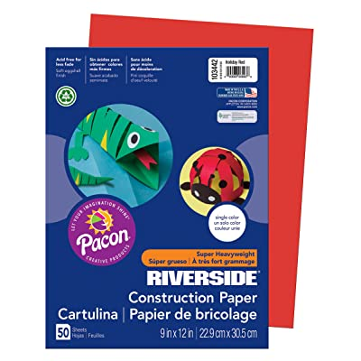 PAC103442 - Pacon Riverside Construction Paper (Holiday Red) (50 sheets) : Office Products