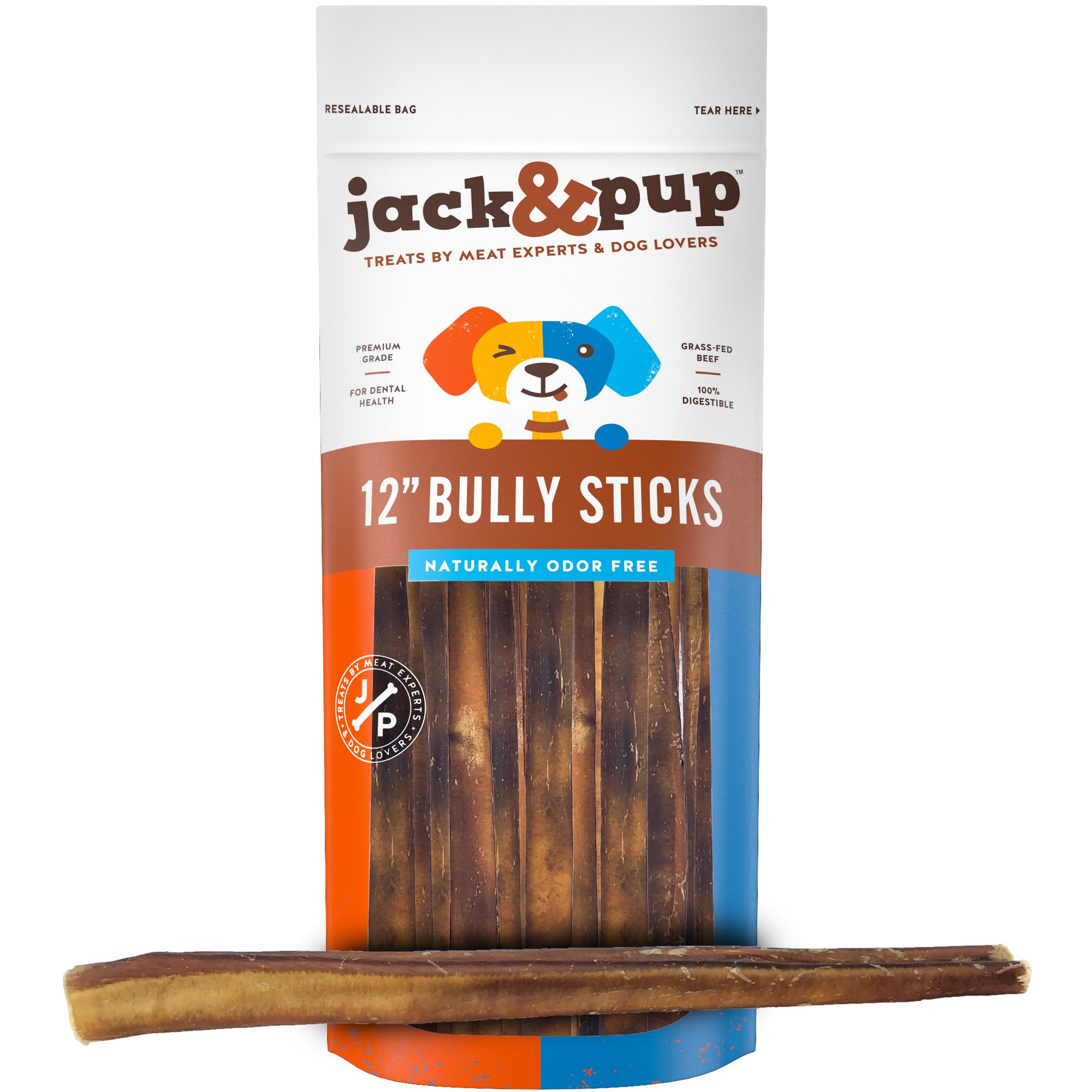 "Jack&Pup 12-inch Premium Grade Odor Free Bully Sticks Dog Treats [EXTRA-THICK], (5 Pack) – 12"" Long All Natural Gourmet Dog Treat Chews – Fresh and Savory Beef Flavor – 30% Longer Lasting"