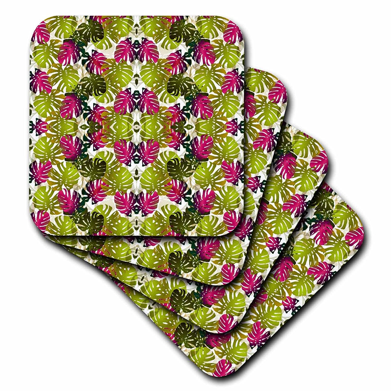 3dRose cst/_61937/_2 Lime N Raspberry Tropical Leaves Soft Coasters Set of 8