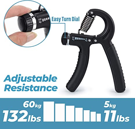 Black Vivilife Fitness Adjustable and Ergonomic Compact Hand Grip Strengthens Hands Wrists and Forearms 22-88 lb Resistance