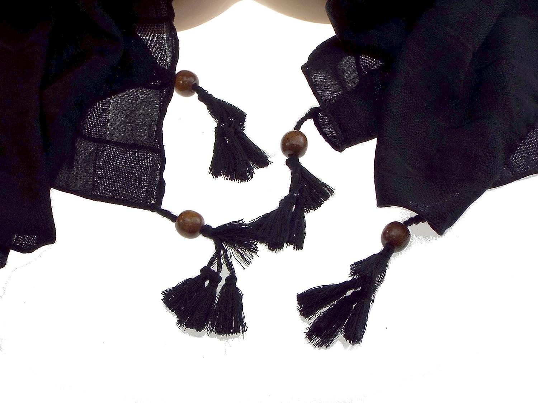 521e37e15e6d 1 foulard noir - fantaisie perle de bois sur chaque extrémité femme -  adolescente -100% acrylique. L  200 cm, H  90 cm - Véranno  Amazon.fr   Vêtements et ...