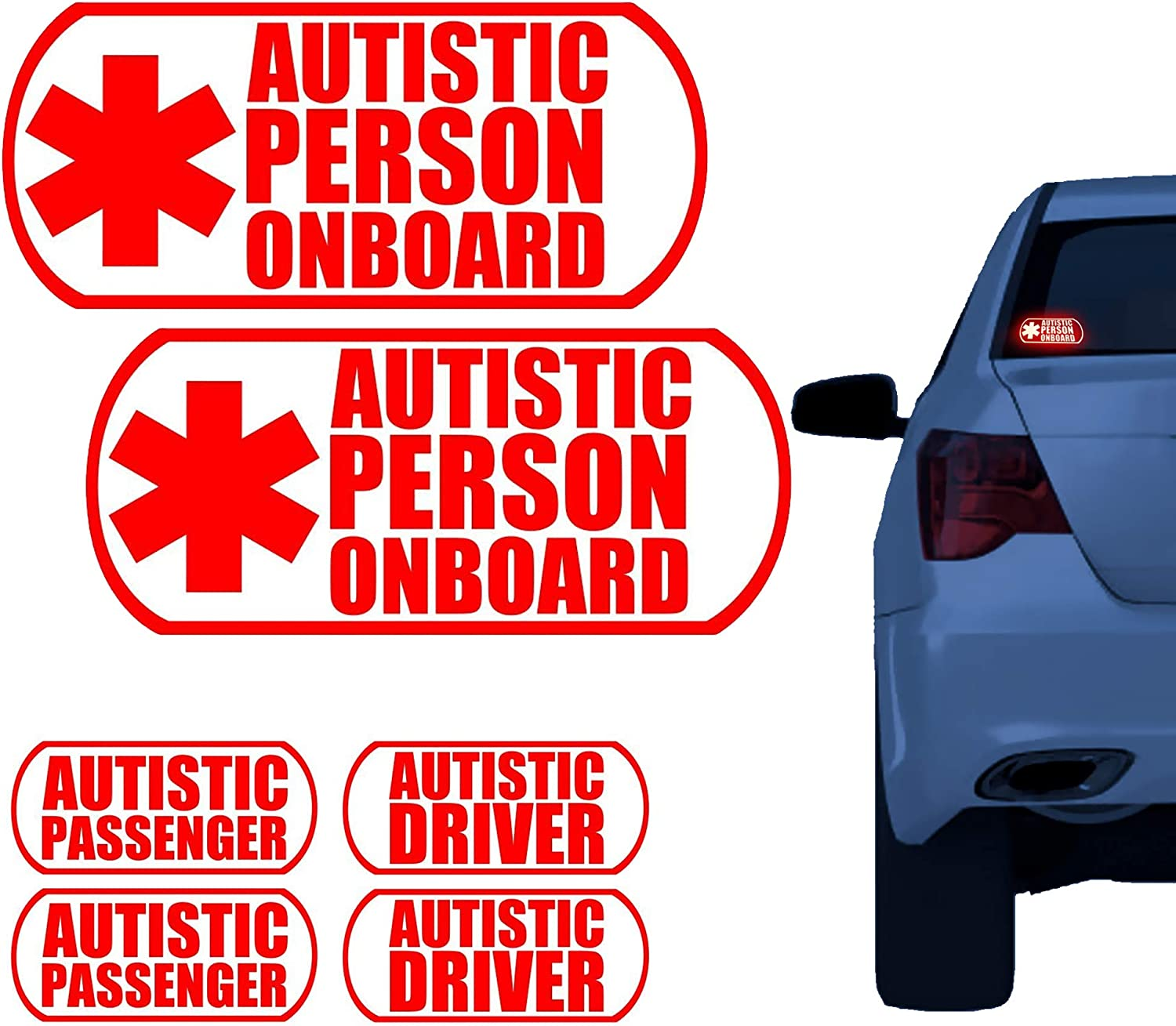 BriCals Vinyl Decals Autistic Ultra Reflective Medical Alert Car & Truck Window Decal Sticker, 2 Vehicle Pack, Autism Emergency Accessories, Rated for 7 Years Outdoors