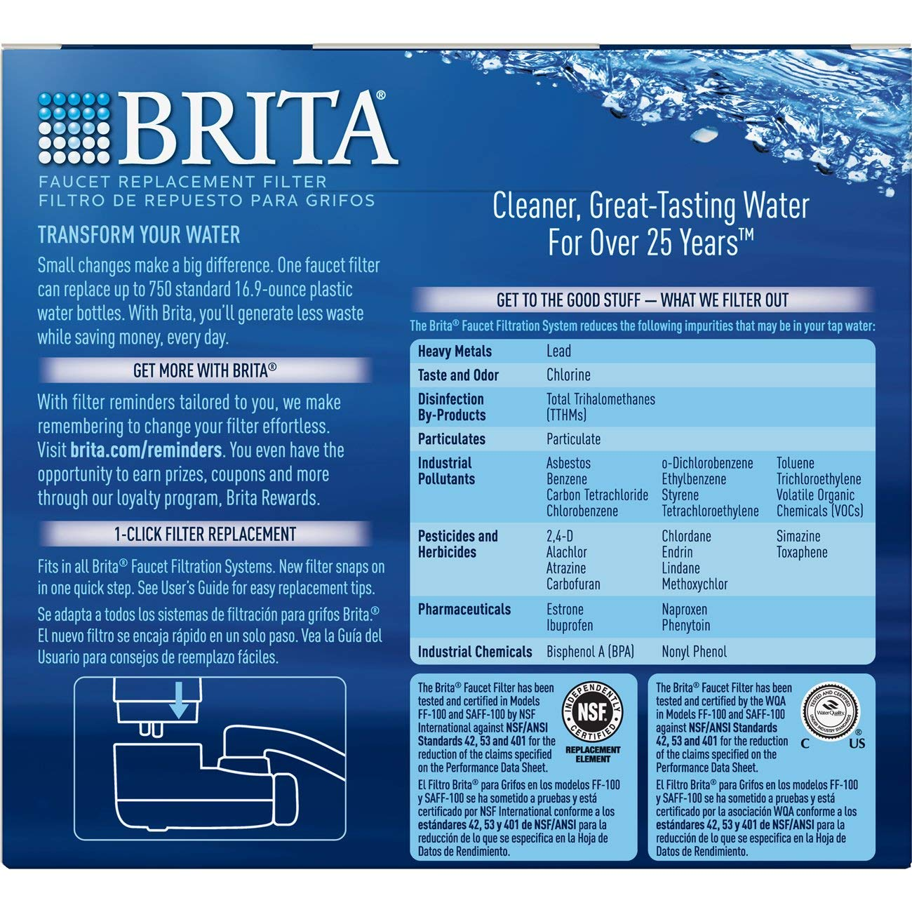 Brita Tap Water Filter, Water Filtration System Replacement Filters For Faucets, Reduces Lead, BPA Free – Chrome, 2 Count by Brita (Image #3)