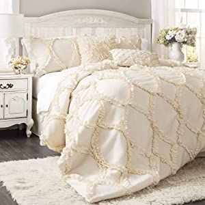 Lush Decor Avon Comforter Ruffled 3 Piece Bedding Set with Pillow Shams - King - Ivory