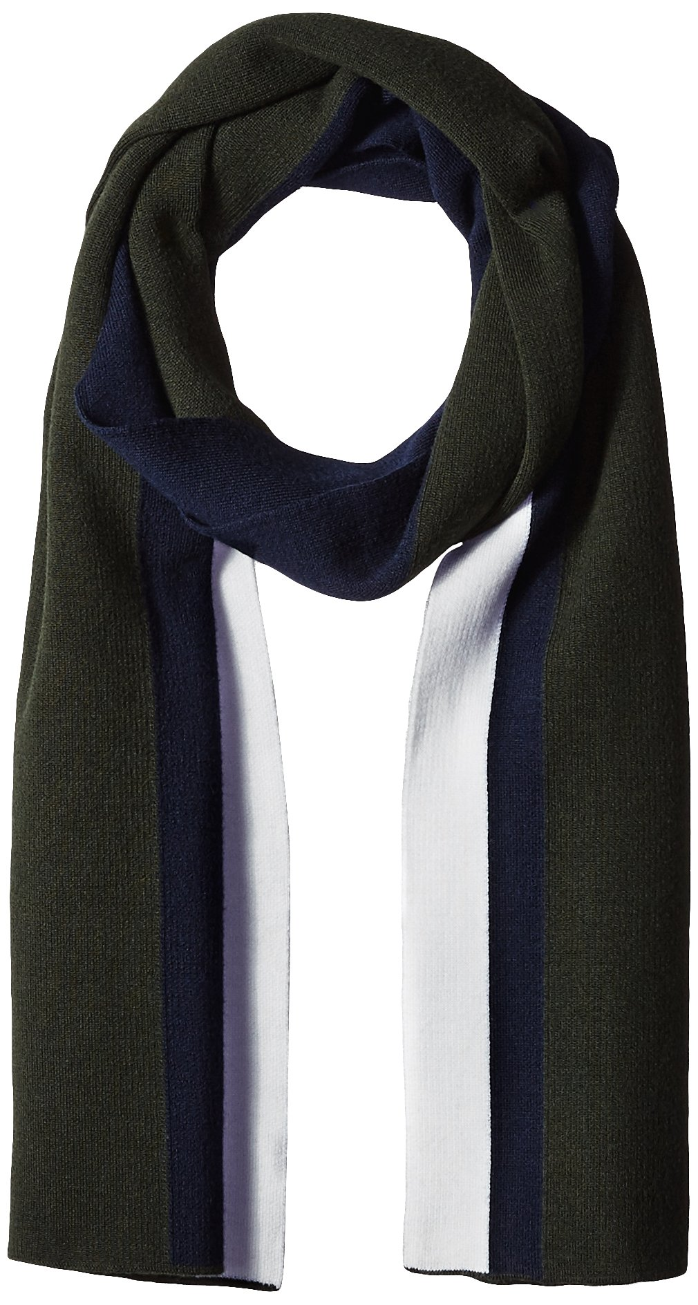 Lacoste Men's Mif Double Face Wool Scarf, Sherwood/Navy Blue/Flour, One Size