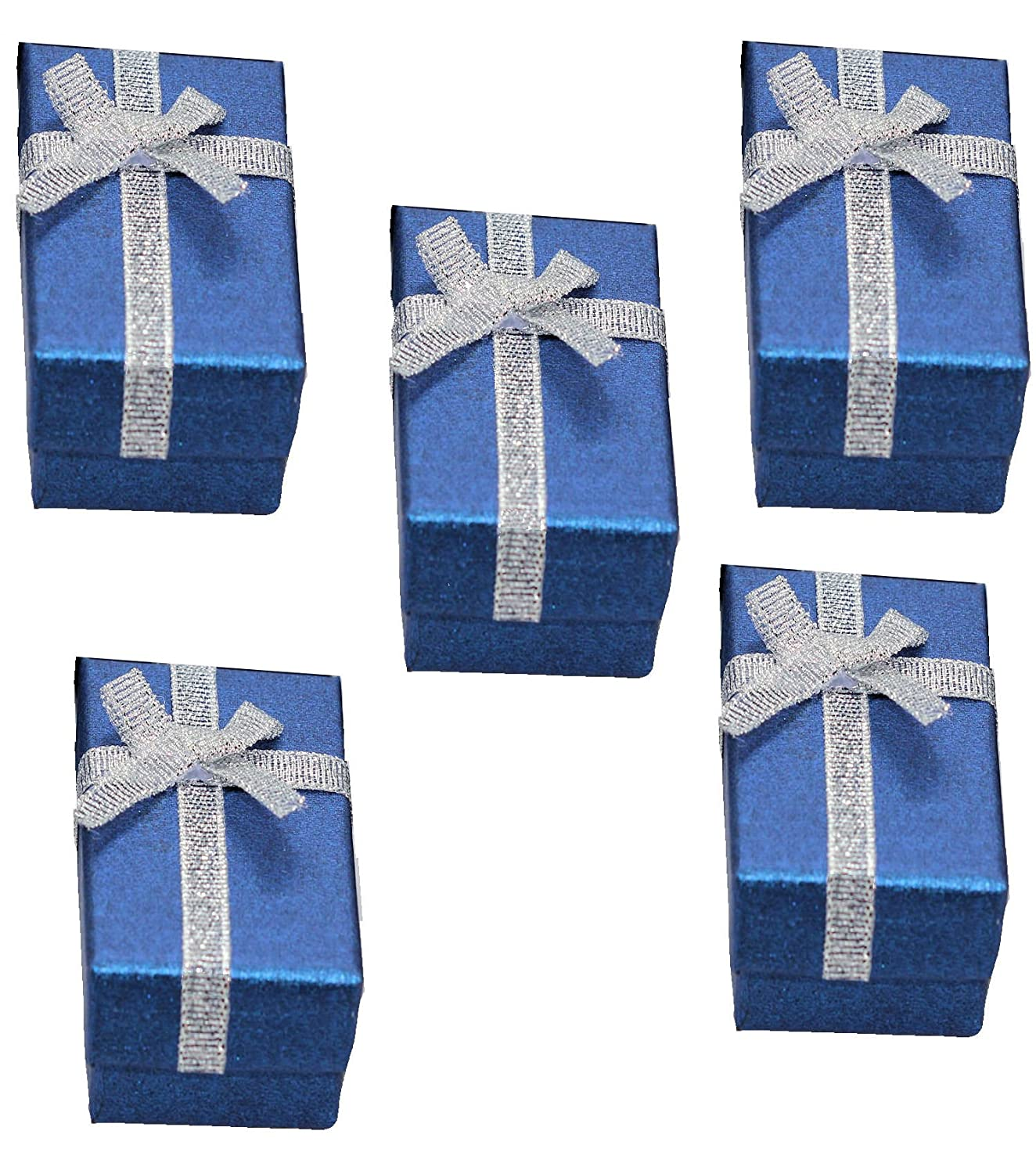 Blue Jewelry Boxes for Women | Ring Earring Bracelet Jewelry Gift Box Paper Cardboard | Small Jewelry Boxes All Blue with Silver Bowknot | Set of 10 C&C