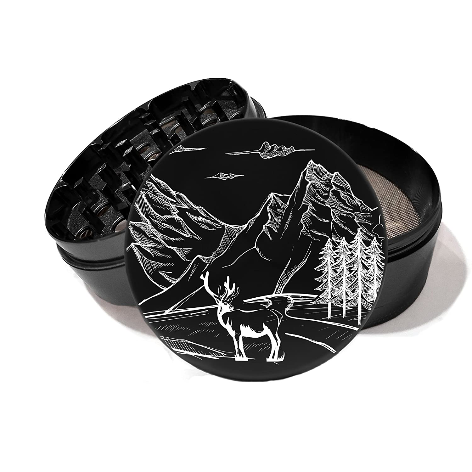 Large 100 mm 4 inch Largest Herb Grinder Spice Mill Black Anodized Aircraft Grade Premium Aluminium Laser Engraved Mountains Wilderness Deer