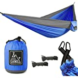 """Camel Outfitters Double Camping Hammock 125"""" x 79"""" Portable Parachute Lightweight 1000 lbs Capacity - Carabiners and Extra Long Rope Included Great for Backpacking Outdoors Patio and Hiking"""