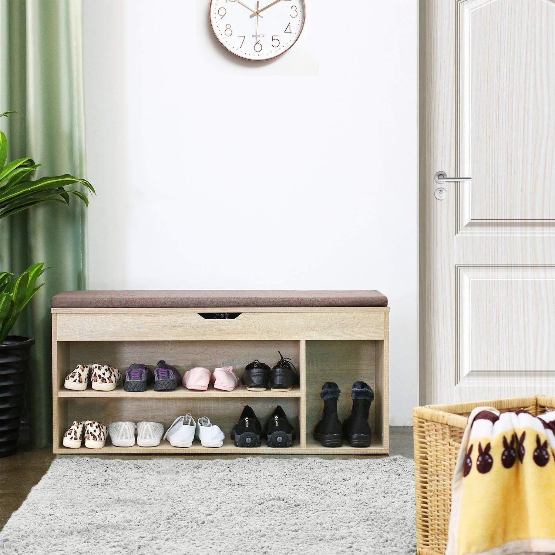 Sgabello Contenitore Porta Scarpe con Cuscino Seduta Sedile Imbottito 3 Ripiani 103.5 /× 29.5 /× 48cm Legno Homfa Scarpiera Panca di Legno da Ingresso