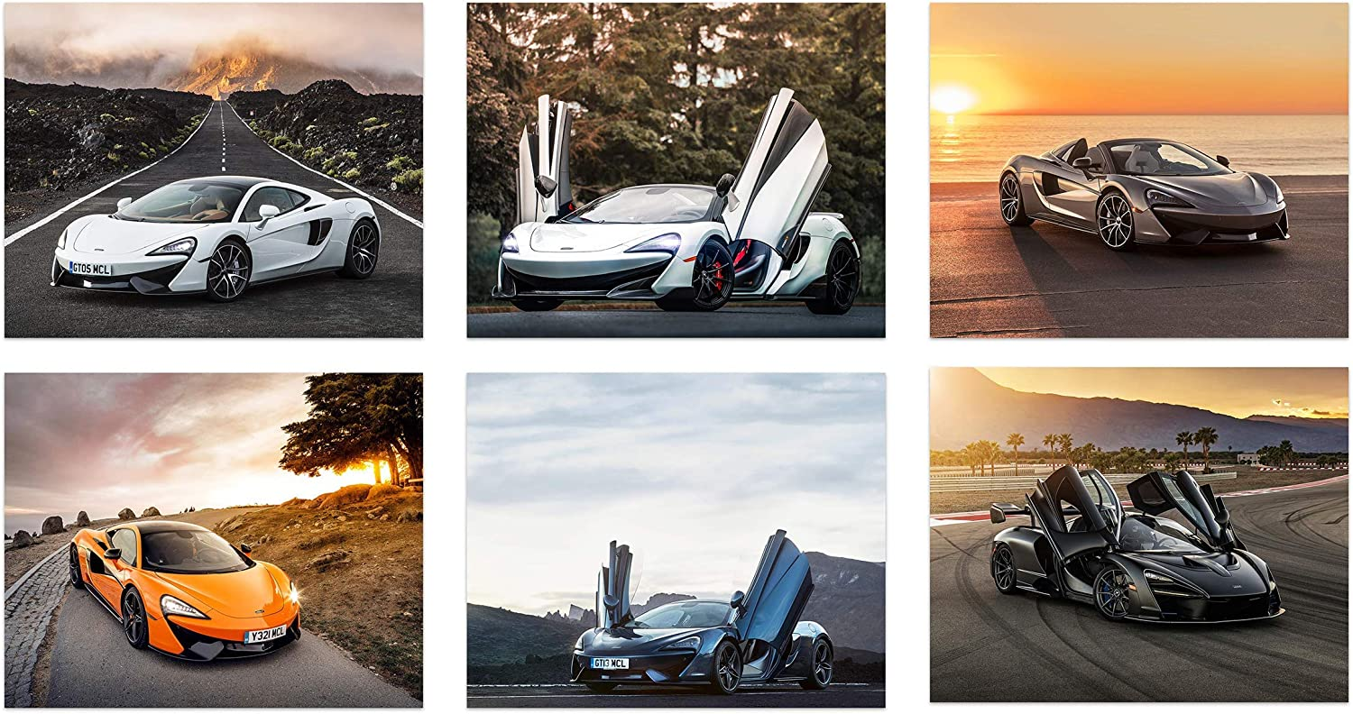 Insire Mclaren Poster - Set of 6 Unframed (10 inches x 8 inches) Sport Cars Wall Art - 570S Spider - 570S - 570GT - 600LT - Senna - P1 - Exotic Supercars - Set 2