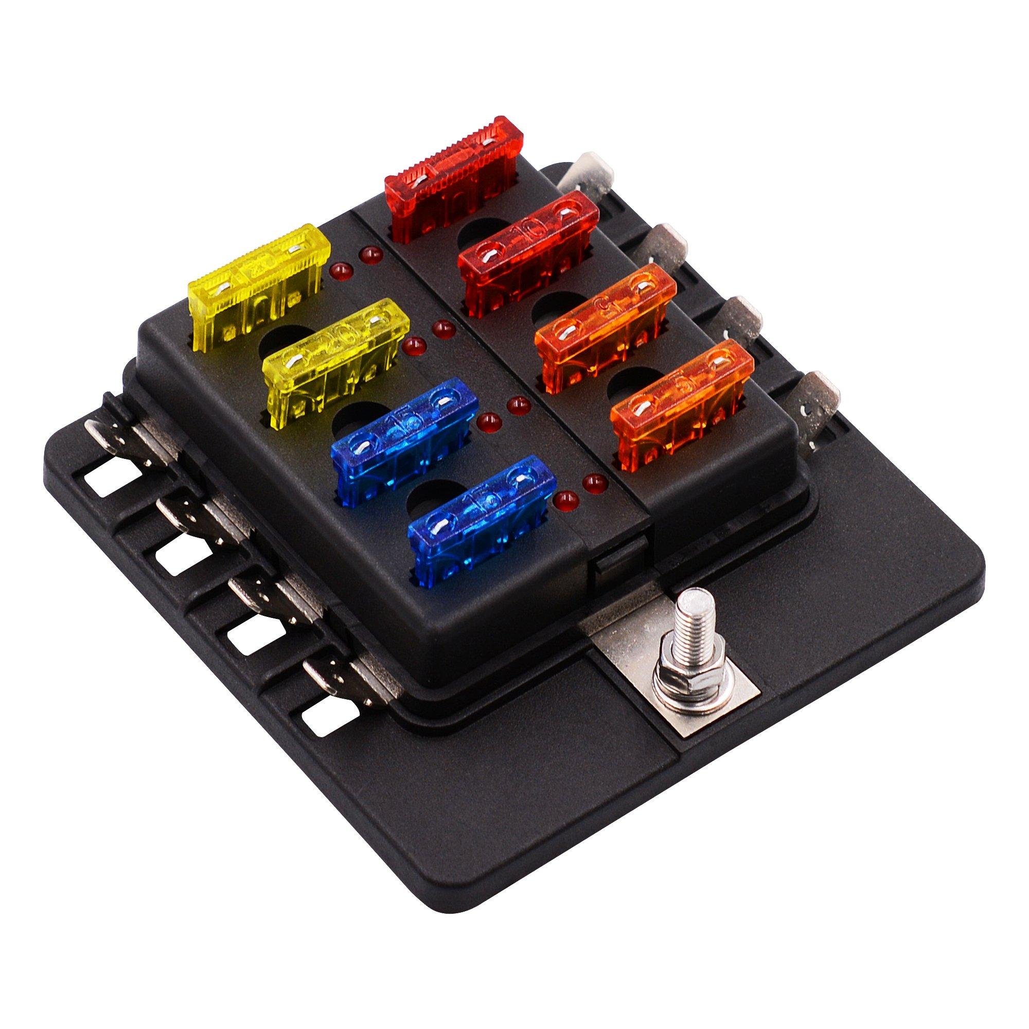 BlueFire 8-Way 30A 32V Blade Fuse Box with 16PCS Fuse + LED Warning Light