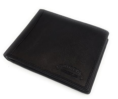 b204cb265e9a6f Echt Leder Herren Geldbörse Portemonnaie Portmonee Geldbeutel Neu (schwarz)