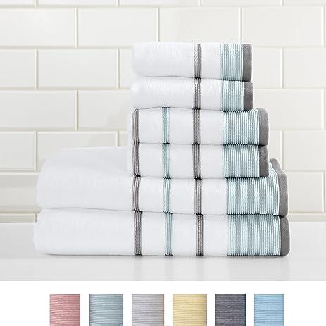 6-Piece Luxury Hotel / Spa 100% Turkish Cotton Striped Towel Set, 500