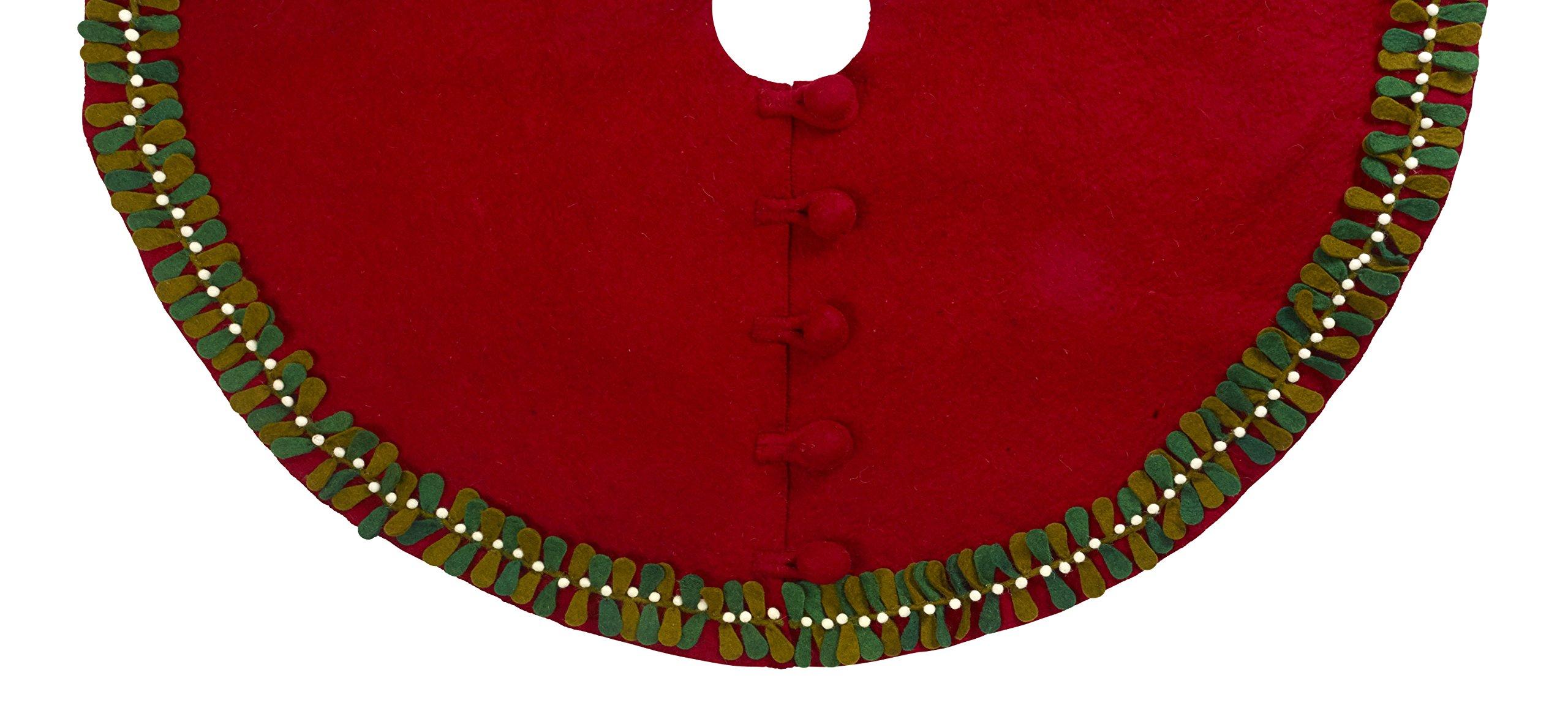 Arcadia Home Mistletoe Tree Skirt in Hand Felted Wool