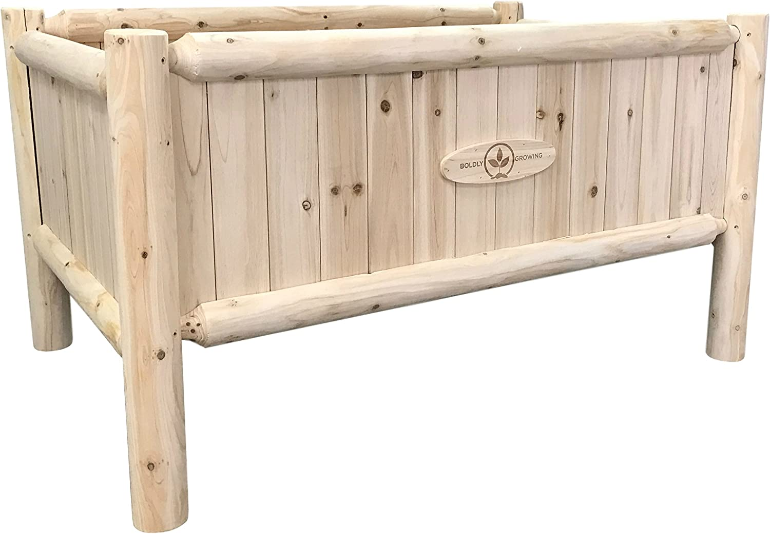 Wooden Raised Planter Box with Legs - Elevated Outdoor Patio Cedar Garden Bed Kit to Grow Vegetables - Unmatched Strength Lasts Years, Natural Rot-Resistant Wood - Boldly Growing (Heavy Duty Short)