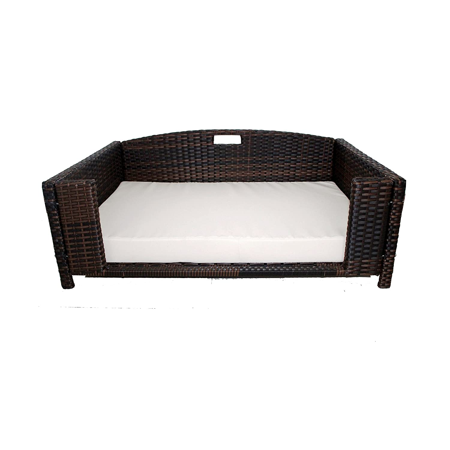 Iconic Pet Rectangular Rattan Wicker Pet Bed In Varying Sizes Metal Framed Indoor Outdoor Furniture For Dogs Cats Made Of Pliable Rattan
