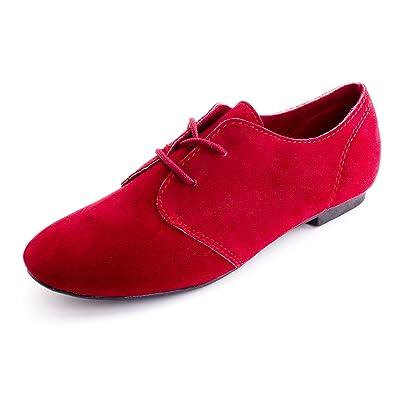 79a1370ec6eac Amazon.com | Womens Lace Up Faux Suede Flat Oxford Shoes (Adults ...