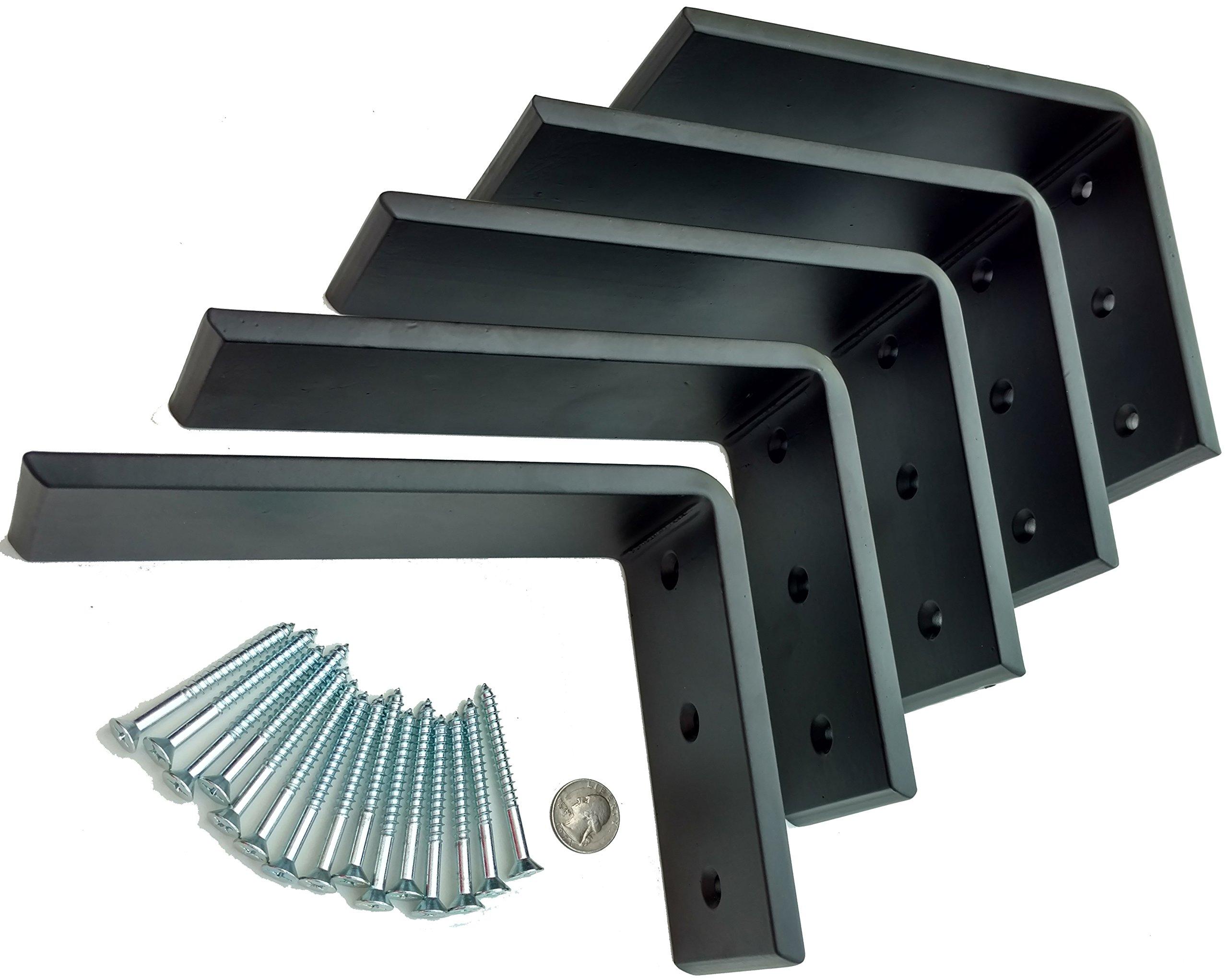 5 Heavy Duty Black Steel 6'' x 8'' Countertop Support Brackets! Corbel L Shelf