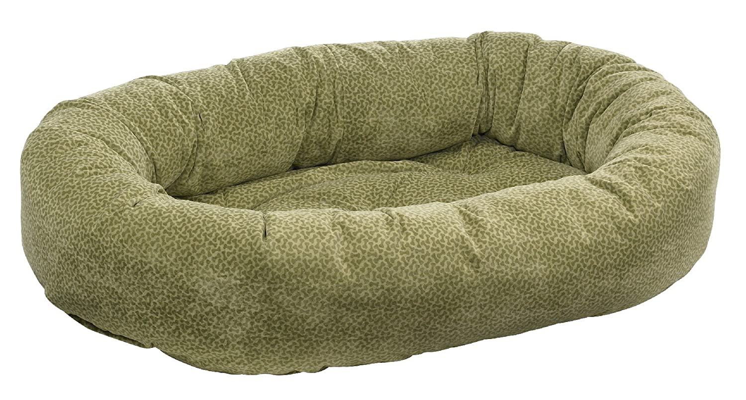 Green X-Small green X-Small Bowsers Donut Bed, X-Small, Green Apple Bones