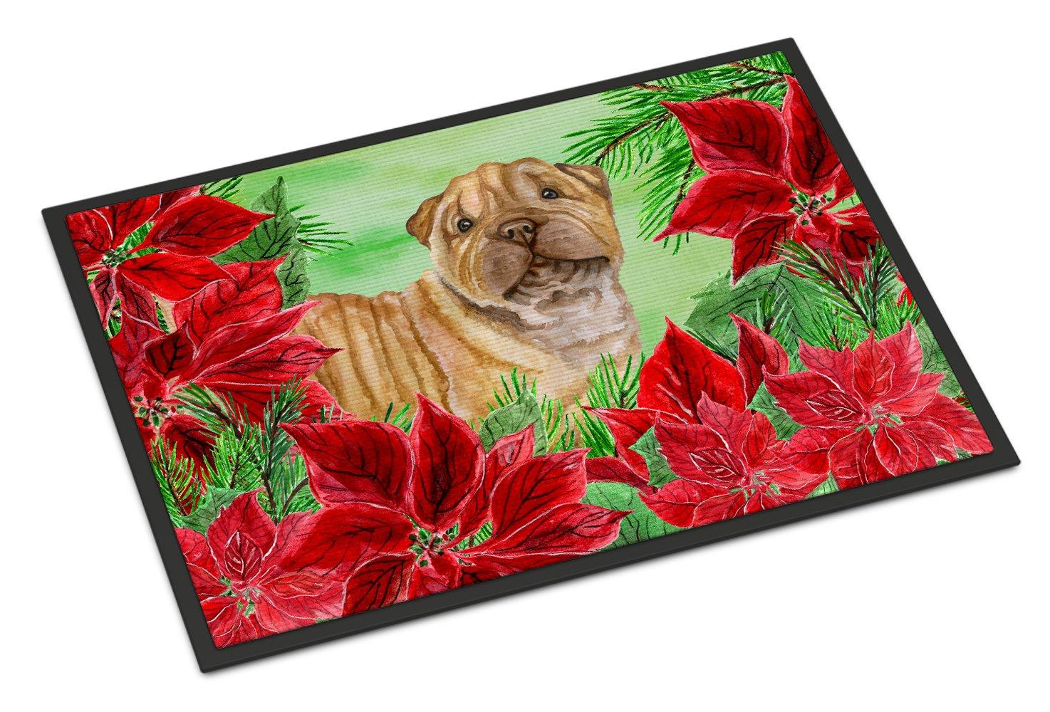 Carolines Treasures Fox Terrier Poinsettias Doormat 24 x 36 Multicolor