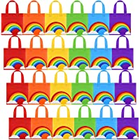 Aneco 24 Pieces Bags Non-Woven Bags Gift Tote Bags Birthday Party Bags with Handles for Party Favors, 8 by 8 Inches, 6…
